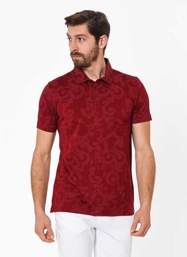 Beymen Business Desenli Polo Yaka Tişört Bordo